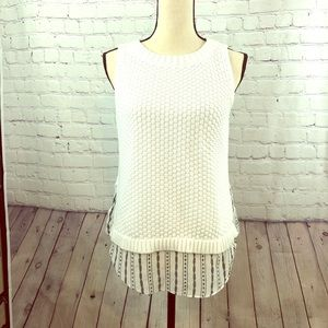 White Loft Knit Sleeveless Sweater